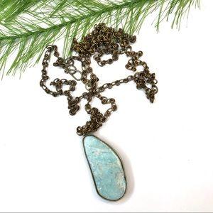 Vintage boho blue stone necklace